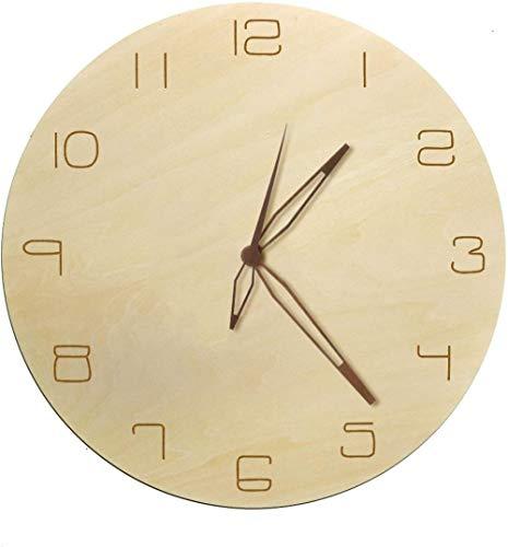 youmengying Co.,ltd Reloj De Pared Decoración Reloj De Pared Decorativo De Arte Rústico Natural Números Árabes Simples con Mano De Madera Reloj De Madera De Diseño Minimalista De Cuarzo Sin Tictac