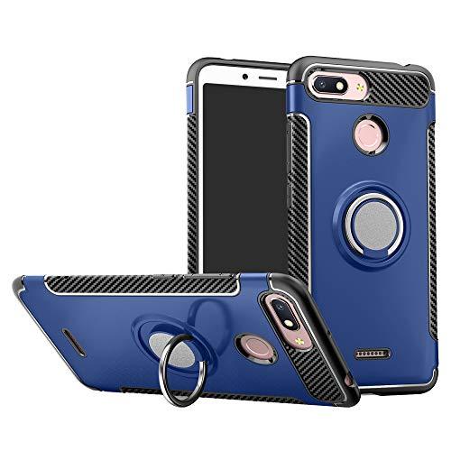 Labanema Xiaomi Redmi 6 Funda, 360 Rotating Ring Grip Stand Holder Capa TPU + PC Shockproof Anti-rasguños teléfono Caso protección Cáscara Cover para Xiaomi Redmi 6 / Redmi 6A - Azul