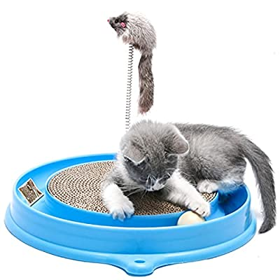 AUOON Cat Scratcher Toy, Cat Turbo Toy, Post Pad Interactive Training Exercise Mouse Play Toy with Turbo and Ball by ARTER