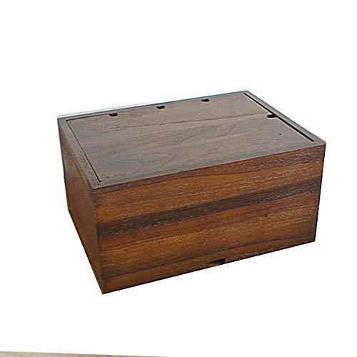 KAGLAB アジアン家具 チーク材 無垢 木製 ケーブルボックス ケーブル収納 電源タップ USBハブ 無垢 R035KA