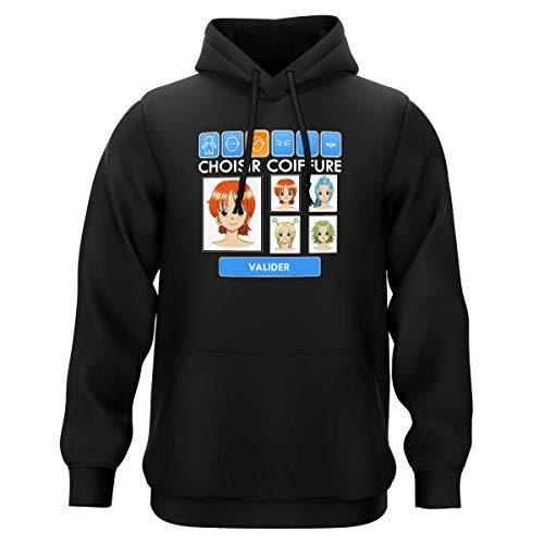 Sweat-Shirt à Capuche Noir Parodie One Piece - Nami et Vivi - Générateur de Personnages : (Sweatshirt de qualité Premium de Taille XL - imprimé en France)