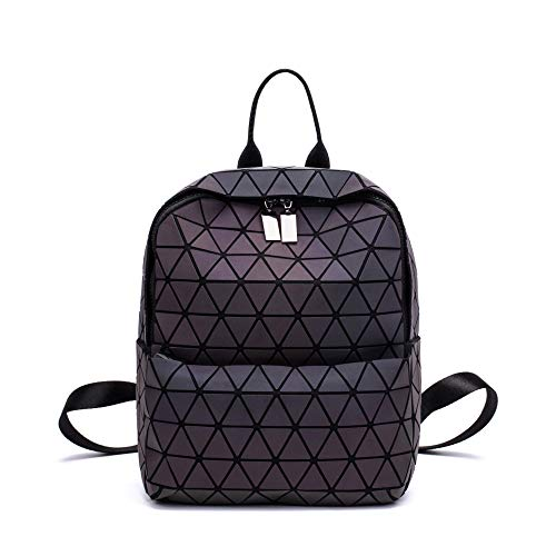 Langchao Outdoor Backpack, New Fashion Luminous Geometric Rhombus Backpack, Student School Bag, Leisure Computer Bag (Luminous No. 4)