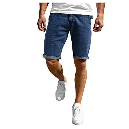Xjp Herren Flat Front Shorts Sommer Casual Fitness Bodybuilding Solide Taschen Sport Shorts Hosen Sportliche Shorts(Marine,XXL)