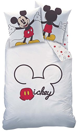 Ropa de cama Mickey Mouse, blanco, rojo, tamaño de 135x200 cm, 80x80 cm