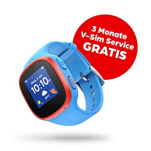 V-Kids Watch by Vodafone - Smartwatch mit GPS-Tracker und SOS-Alarmknopf, blau + 3 Monate Service Gutschein (kostenfreies Datenpaket)