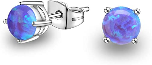 3mm 4mm 5mm 6mm Opal Stud Earrings Set Stainless Steel Tiny 20G Piercing Earrings Pack for Women Men Unisex Purple