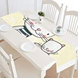 Long Dining Table Runner Happy Lovely Family Animal Mexican Table Runner Bed Side Table Runner 16x72 Inch For Dinner Parties Events Decor