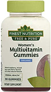 Finest Nutrition Free & Pure Womens Multivitamin Organic Gummies, Raspberry, Strawberry and Cherry 90 Ct