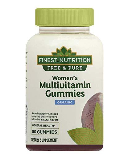 Finest Nutrition Free & Pure Womens Multivitamin Organic Gummies, Raspberry, Strawberry and Cherry 90 Ct