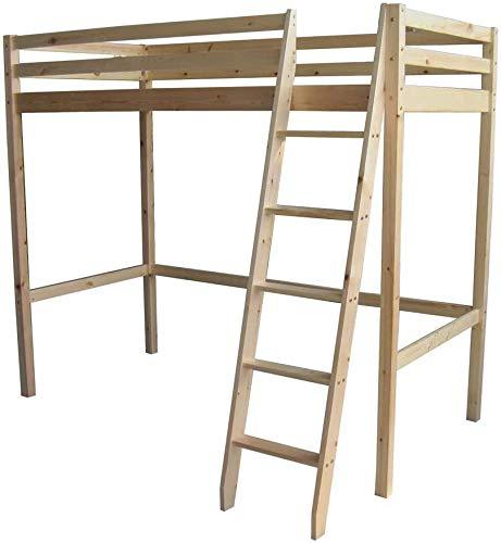 Tranquido pino de la infancia de una sola cabina, cama doble elevada con escalera,Wood color