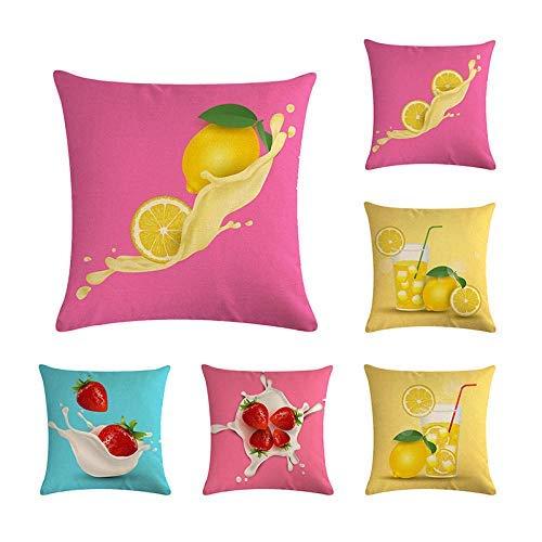Funda de cojín 6 juegos de funda de almohada de lino con diseño de frutas y dibujos animados de limón fresa decoración del hogar de 45 x 45 cm