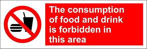 Het gebruik van voedsel en drank is verboden in dit gebiedteken - Zelfklevende sticker 300mm x 100mm