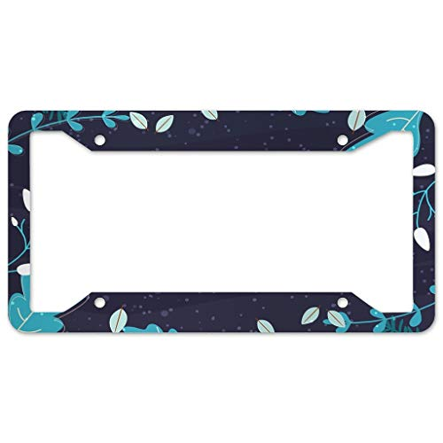 Bohohobo Floral Pattern License Plate Frame 4 Pieces Design License Plate Frame With 4Holes Fite For Garage white 16x31cm
