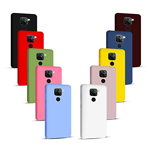 NUDGE 10X Fundas para Xiaomi Redmi Note 9(4G),Carcasa Silicona de Color Sólido Anticaída,Cubierta Flexible Ultrafina a Prueba de Arañazos y Golpes