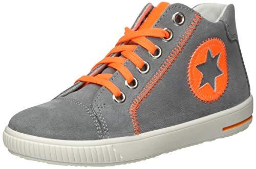 Superfit Baby Jungen Moppy Sneaker, Grau (Hellgrau/Orange 25), 24 EU