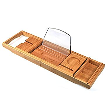seatore Bathtub Caddy, Luxury Bamboo Bathtub Caddy Tray with Extending Arms, Adjustable Book Holder and Cellphone Slot for Books, iPad, iPad Mini, iPhone