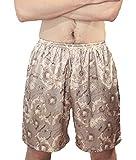 Pantalon Pyjama Homme Eté Vintage Fashion Ethnique-Style Impression Court Pantalons Vêtements de Fiesta Hommes Large Loisir Perméable À L'Air Confortables Soie Pantalon De Pyjama Short
