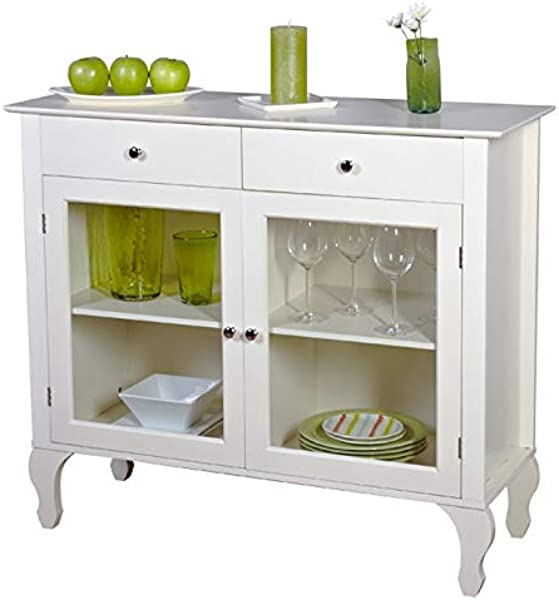 BeUniqueToday Antique White Sideboard Buffet Console Table With Glass Doors Features 2 Drawers 2 Inner Adjustable Shelves For Plenty Of Storage Constructed Of Engineered Wood Wood Tempered Glass