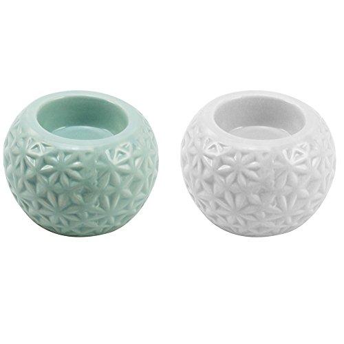 com-four® 2X Portavelas mágico con diseño en Estilo Vintage - en Modernos Colores Pastel - Portavelas de Robusto dolomita (2 Piezas - Blanco Turquesa)