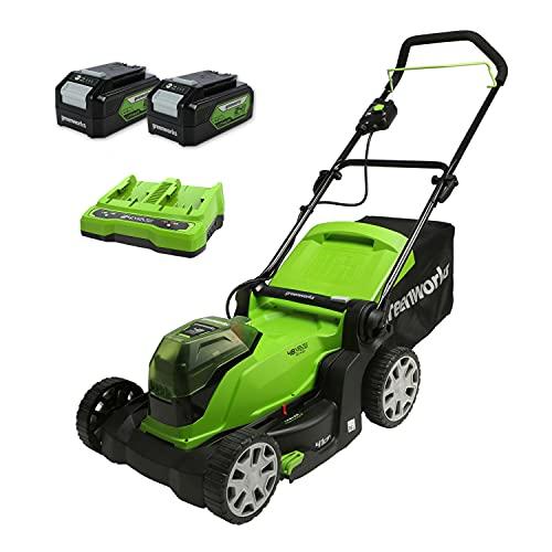 Greenworks G24X2LM412x Cortacésped con batería, Li-Ion 2x 24V, 41cm de ancho de corte, hasta 220m², caja colectora de césped 50L, 6 niveles de altura de corte con 2x baterías de 4Ah & cargador