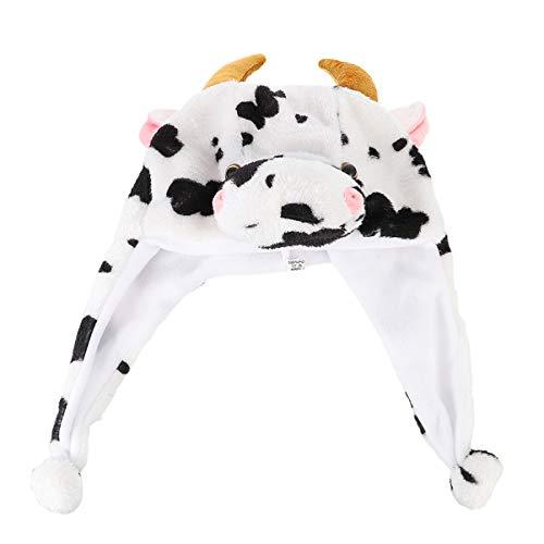 VALICLUD Sombreros Novedosos para Nios Adultos Sombrero de Animal de Peluche Divertido Sombrero de Vaca con Orejas Mviles Sombrero de Disfraz Suministros de Fiesta