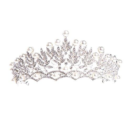 MIAOJI Corona de Novia, Corona Nupcial, Boda, graduación, Tiara, joyería, Novia, Perla, Diamantes de imitación, Accesorios para el Cabello
