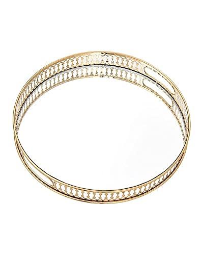 QAZX Bandeja decorativa con espejo de cristal, bandeja de almacenamiento de metal, rectangular y redonda, para escritorio, artículos pequeños, bandeja de exhibición de joyas, color (24 cm)
