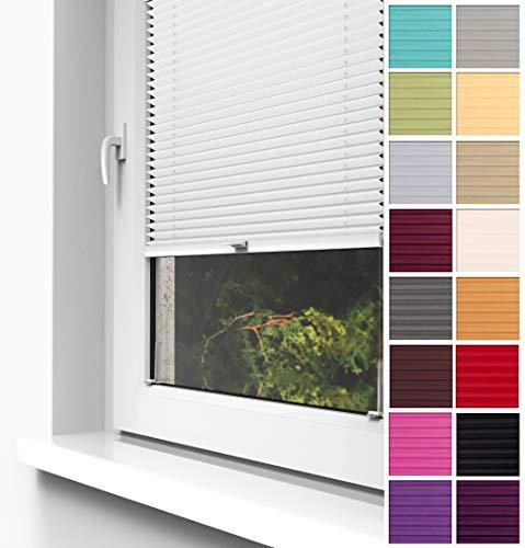 Home-Vision® Premium Plissee Faltrollo ohne Bohren zum Kleben Innenrahmen Blickdicht Sonnenschutz Jalousie für Fenster & Tür (Weiß, B80 x H200cm)