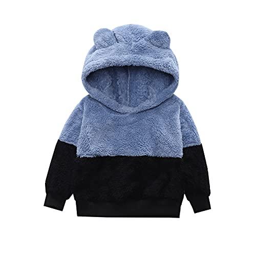 Kids Fleece Jacket Boys Girls Bear Ears Hooded Sweater Color Matching Cute Warm Plush Coat Baby Pullover Jacket Outerwear