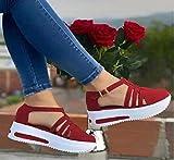 ESACLM Sandales Confortables en Tricot de Sport Orthopedic Sandals, Sandales décontractées de Plage à Fond épais pour Femmes à l'intérieur et à l'extérieur, Sandales à Talons pour Femmes,Rouge,41 EU