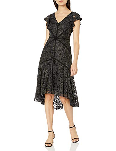 Taylor Dresses Women's Ruffle Sleeve Metallic Lace High Low Dress, 18W