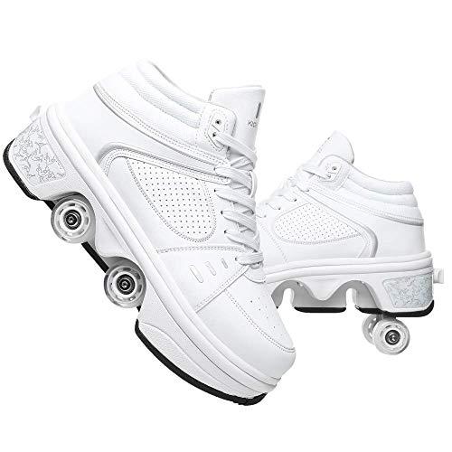 woyaochudan Zapatos con Ruedas, Zapatos de Skate para Mujeres, Hombres, niños, niños, Zapatos con Ruedas, Zapatillas con Ruedas, 7 Colores, LED, Zapatos con Ruedas de deformación Recargables, 39