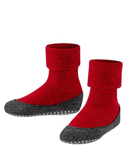 FALKE Unisex Kinder Hausschuh-Socken Cosyshoe, Schurwolle, 1 Paar, Rot (Fire 8150), 35-36 (9-10 Jahre)