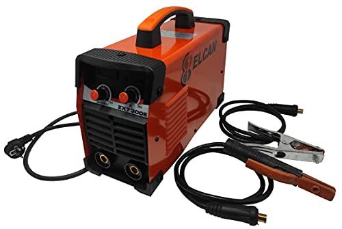 ELCAN Máquina soldadura inverter para soldar electrodos revestidos (MMA) de 200 Amperios DC (corriente continua) digital profesional con pinza masa y portaelectrodos y regulación de la fuerza de arco