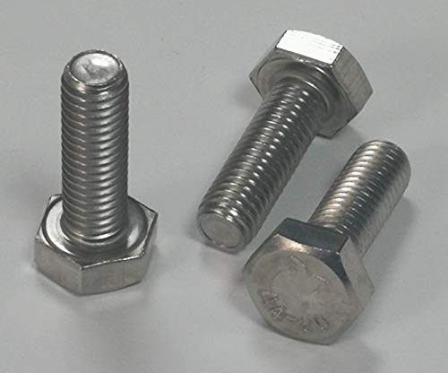 10 tornillos hexagonales DIN 933 – ISO 4017 de acero inoxidable A4 – Aisi 316 (acero inoxidable V4A, M8 x 30 mm)