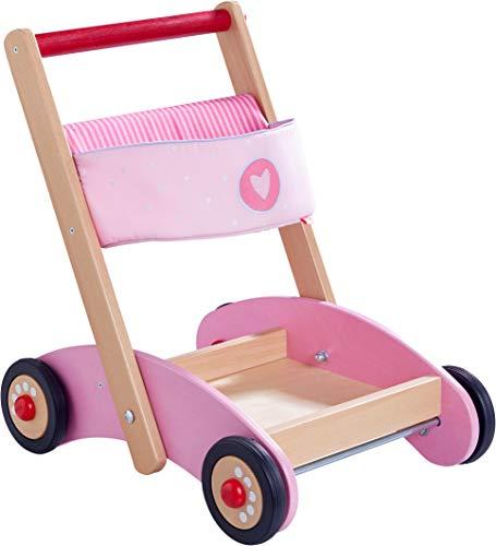 HABA 304396 - Lauflernwagen Glitzer-Flitzer, Lauflernhilfe aus Holz und Stoff mit Transportfach und Tasche für Spielsachen, ab 10 Monaten
