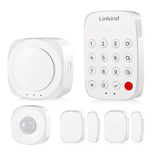 Linkind Smart Alarmanlagen Set, Zigbee Handy App-steuerbar, 1xBewegungsmelder, 2xTür-/Fenstersensoren, Komplettes Alarm System Set Sicherheitssystem