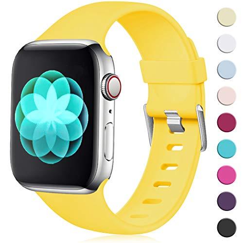 Maledan Compatibile per Cinturino Apple Watch 44mm 42mm, [Classica Fibbia] Morbido Cinghia di Ricambio Regolabile in TPU per Apple Watch Series 5/4/3/2/1, M/L Giallo Mango