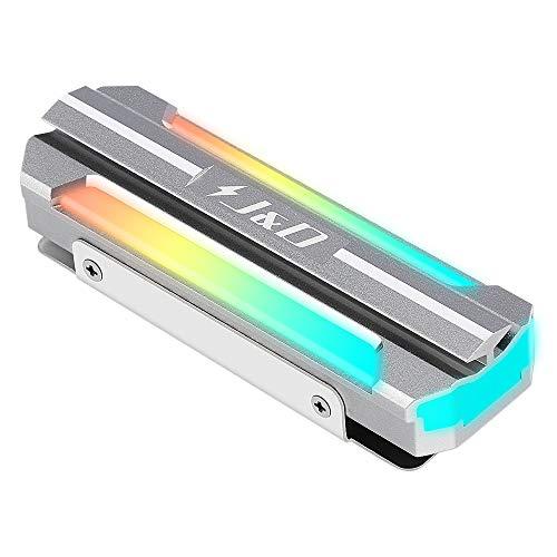 J&D ARGB M.2 Kühlkörper, Aluminium Legierung M.2 Kühlkörper SSD Kühler mit 5V 3Pin ARGB Licht und Wärmepad, Kompatibel mit SATA NVMe NGFF 2280 M.2 SSD