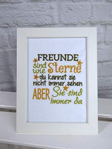 Freunde sind wie Sterne~Geschenk beste Freundin Ostern~Wandbild gerahmt~Bilderrahmen A5~edle Stickerei~15x20 cm