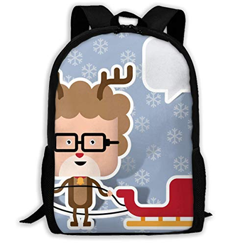 TTmom Schulrucksack,Schüler Bag,Rucksack Damen Herren Backpack Man As Reindeer with Sleigh Zipper School Bookbag Daypack Travel Rucksack Gym Bag for Man Women