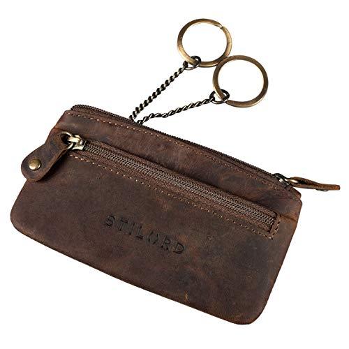 STILORD 'Theo' Estuche de Llaves de Cuero Vintage Organizador Monedero Cartera para Tarjetas Pequeña con Anillo Cremallera RFID Protector, Color:marrón - Medio