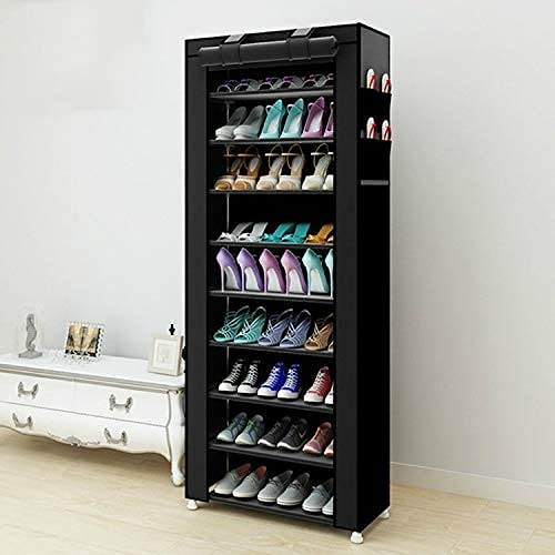 Renovierungsmöbel Vliesstoffe Große Schuhregal Organizer Abnehmbare Schuhe Aufbewahrungsschrank Möbel für Reihe: Einreihig (Schwarz) (Farbe: Schwarz)