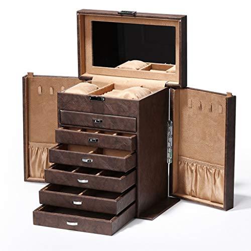 LTCTL Caja De Joyería con Espejo 7 Capas De Joyería Marrón Organizador Caja De Joyería De Cuero Enorme Pantalla De Almacenamiento (Color : Jewelry Box A)