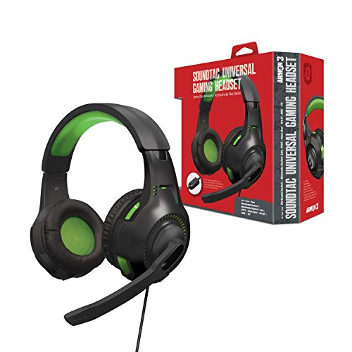 "Armor3 ""Soundtac"" Universal Gaming Headset (Green) for Xbox Series X/ Xbox Series S/ Nintendo Switch/ Lite/ PS4/ PS5/ Xbox One/ Wii U/ PC/ Mac - PlayStation 5"