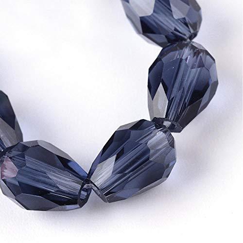 15 perlas de cristal checo de 8 mm x 6 mm, facetadas, forma de gota, perlas de cristal talladas, selección de colores (zafiro indio)