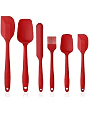 Vicloon Silicone Tools, Set of 6 Silicone Cooking Set Including Brush, Spoon, Spatula, Non-Stick and Heat Resistant, Silicone Spatula for Cooking and Baking, Suitable for Dishwasher (Red)
