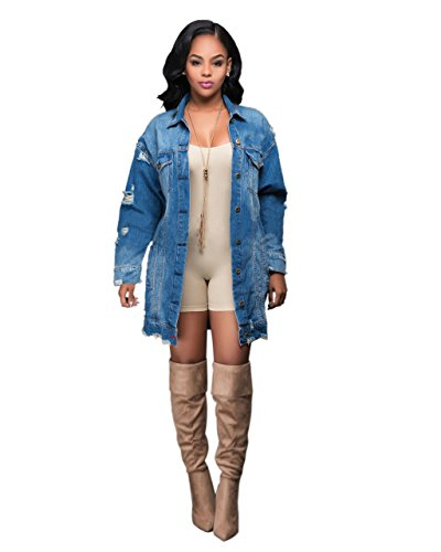 Giacche di Jeans da Donna Casual/Vacanze Primavera/Autunno Semplice/Moda Città,Tinta Unita Colletto Poliestere Blu Manica Lunga, m