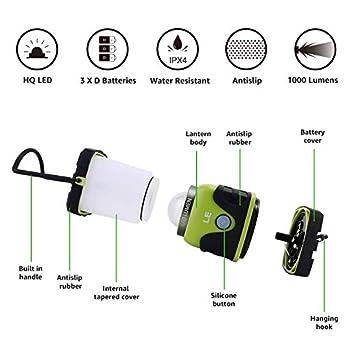 LE Lanterne Camping LED, Lampe Camping Puissante 1000lm, Luminosité Réglable, Eclairage Camping Etanche, pour Camping, Bivouac, Pêche, Randonnée, Cave, etc.