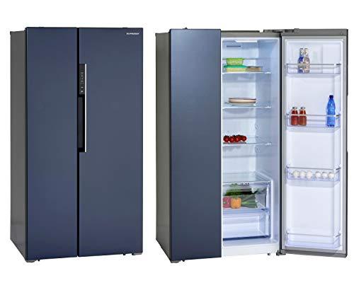 Schneider Refrigerador lateral y congelador SBS612.4A++DB NoFrost Inox, diseño azul oscuro, 612 litros, 178 cm, eficiencia energética: A++.